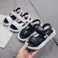 Kids Sandals Boys Girls Summer Shoes in Leather Soft Comfortable Black White Hook Loop Flat for Unisex