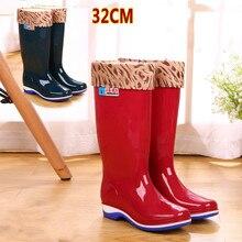 Marca de moda de Las Mujeres de Mitad de la pantorrilla Botas de Lluvia Botas de Lluvia de Las Mujeres de Alta Plataforma Zapatos Casuales de Nieve A Prueba de Agua Tamaño 36-40
