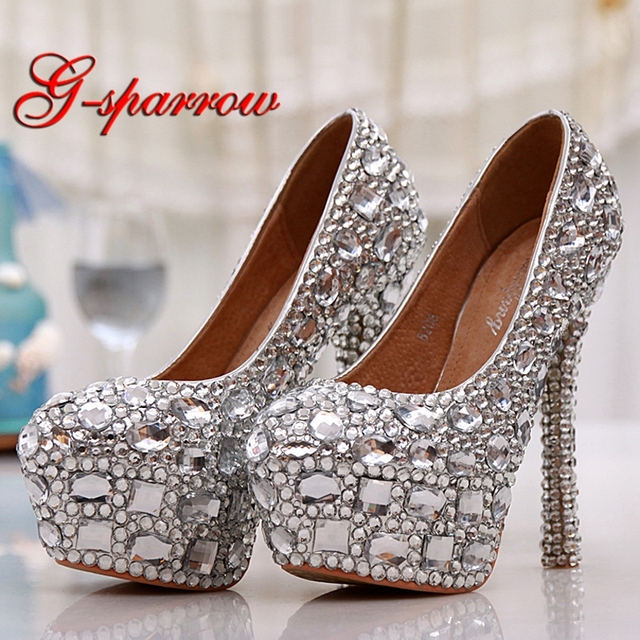 Silver Rhinestone Graduation Party Prom Shoes Lady Farewell Ceremony High  Heels Gorgeous Design Wedding Party Pumps Size 44 45 e65e20651b59