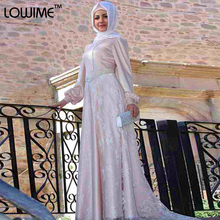 Muslim/Arabic Light Pink Evening Dress Long Sleeve Prom Dresses With HiJab DuBai Celebrity Dress vestido de festa Free Shipping