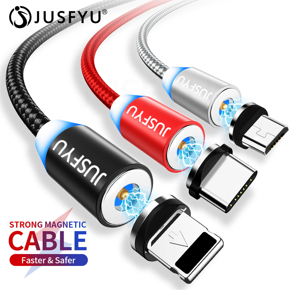 JUSFYU Magnetic Cable Braided LED Type C Micro USB magnetic usb charging cable for Apple iphone X Xs Max XR Samsung S10 S9 cord