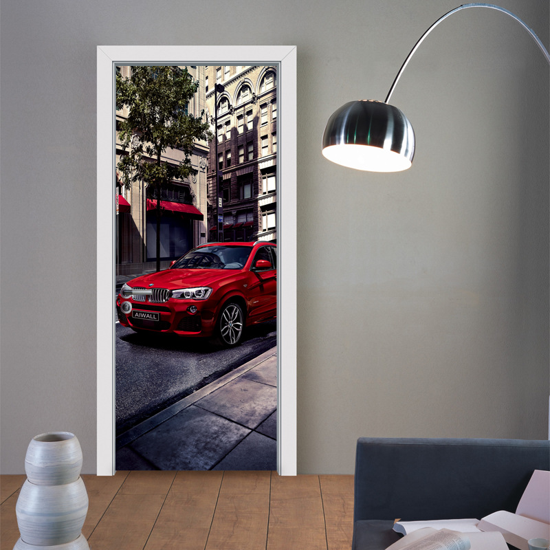 <font><b>3D</b></font> Creative Redf <font><b>Car</b></font> <font><b>Wallpaper</b></font> Door Sticker Mural Home Decor for Bedroom Living Room kids Room Poster Waterproof Home Decor image