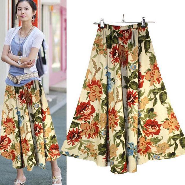 Verano de bohemia faldas maxi falda larga de las señoras de impresión ocasional falda de Algodón y lino