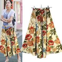 Summer Skirts Bohemian Casual Long Dress Ladies Print Skirt Maxi Skirt