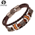 Jiayiqi Vintage Beads Bracelet Handmade Woven Elegant Brown Leather Bracelets & Bangles For Women Men Jewelry Fashion Accessory
