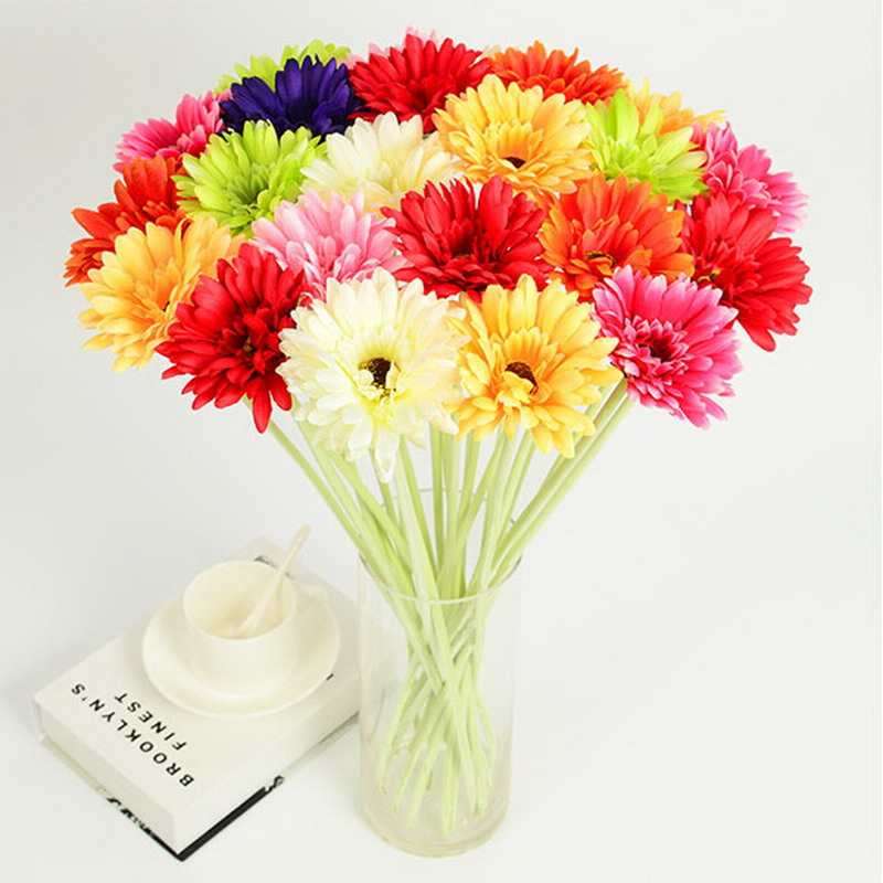 Home Silk Gerbera Daisy Flower Wedding Party Garden Decoration Artificial Sunflower African Bouquet Plants Room Decor P45