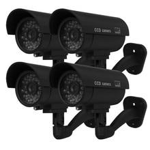 Floureon 4 шт. Открытый водонепроницаемый Манекен Поддельные наблюдения CCTV камеры безопасности с красный светодиодный Черный Ложные камеры