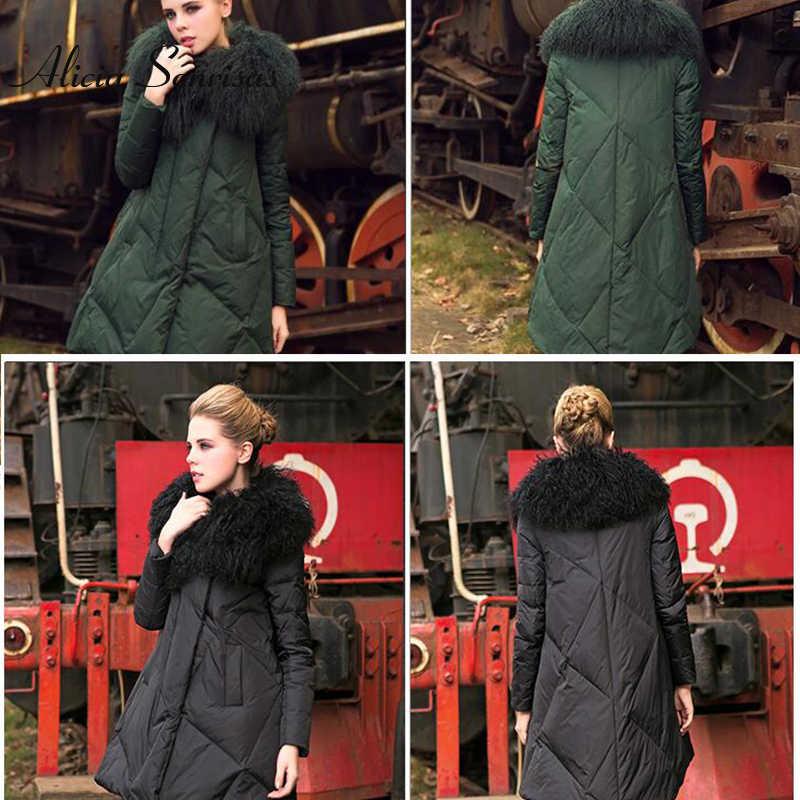 בתוספת גודל 3XL 4XL נשים ארוך חורף למטה מעיל 100% אמיתי גדול דש כבש פרווה צווארון עבה חם כותנה מרופדת שחור ירוק מעיילי