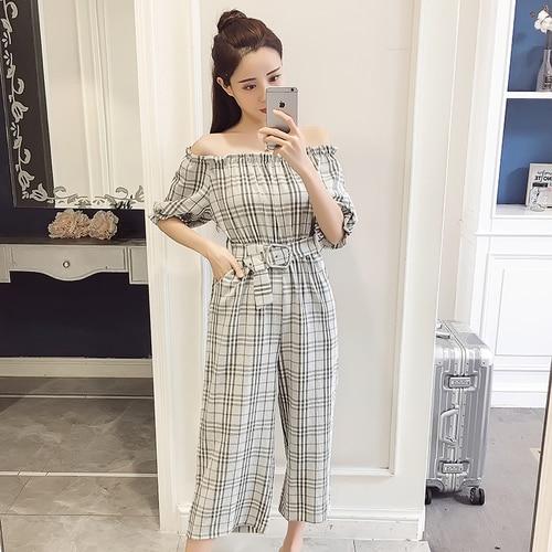 2018 Summer Style Fashion Sweet High Waist Wide Leg With Belt Jumpsuits Elegant Macacao Feminino Temperament Plaid Romper 3
