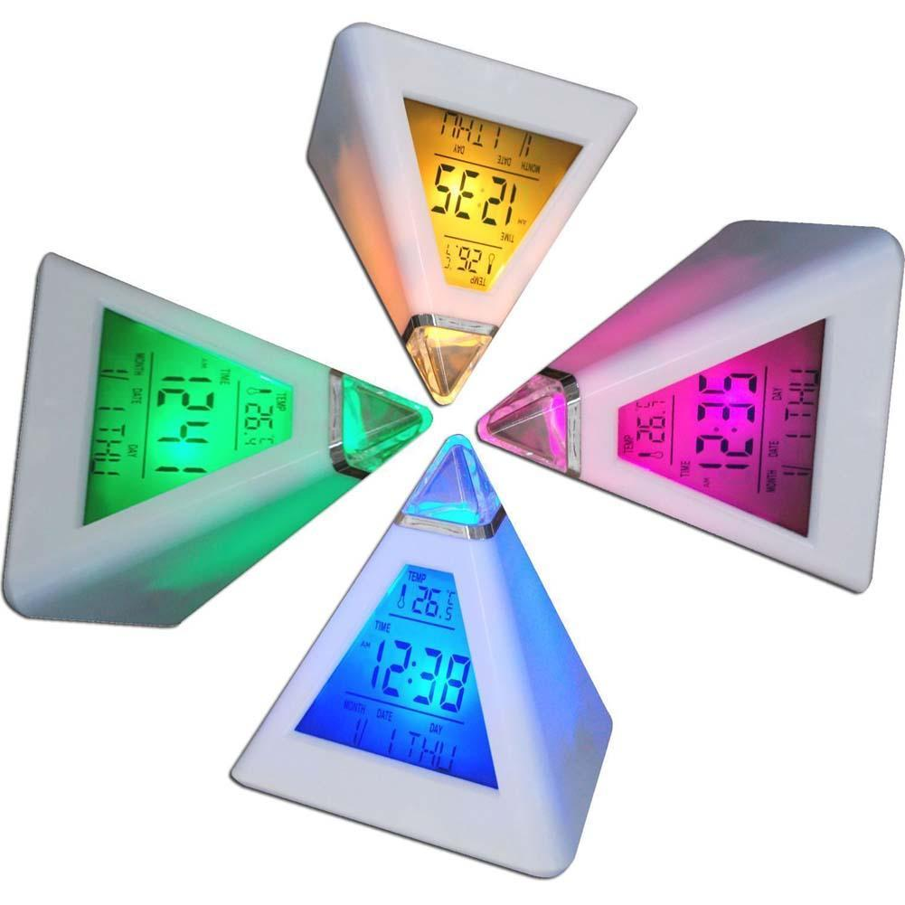 LED Changing Color Pyramid Digital LCD Snooze Alarm Clock Triangle Thermometer C/F A609  ...