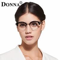 Donna Clássico Retro Lente Clara Lerdo Armações de Óculos Moda marca designer Homens Mulheres Óculos Vintage Metade De Metal Eyewear