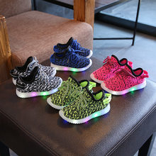 2019 New Kids Led Shoes with illumination Breathable Air Mesh Glowing Sneakers Baby Tenis Led Infantil Children Shoes with Light(China)