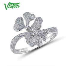 VISTOSO 14K 585 White Gold Rings For Lady White Flower Ring Sparkling Diamond Promise Engagement Rings Anniversary Fine Jewelry