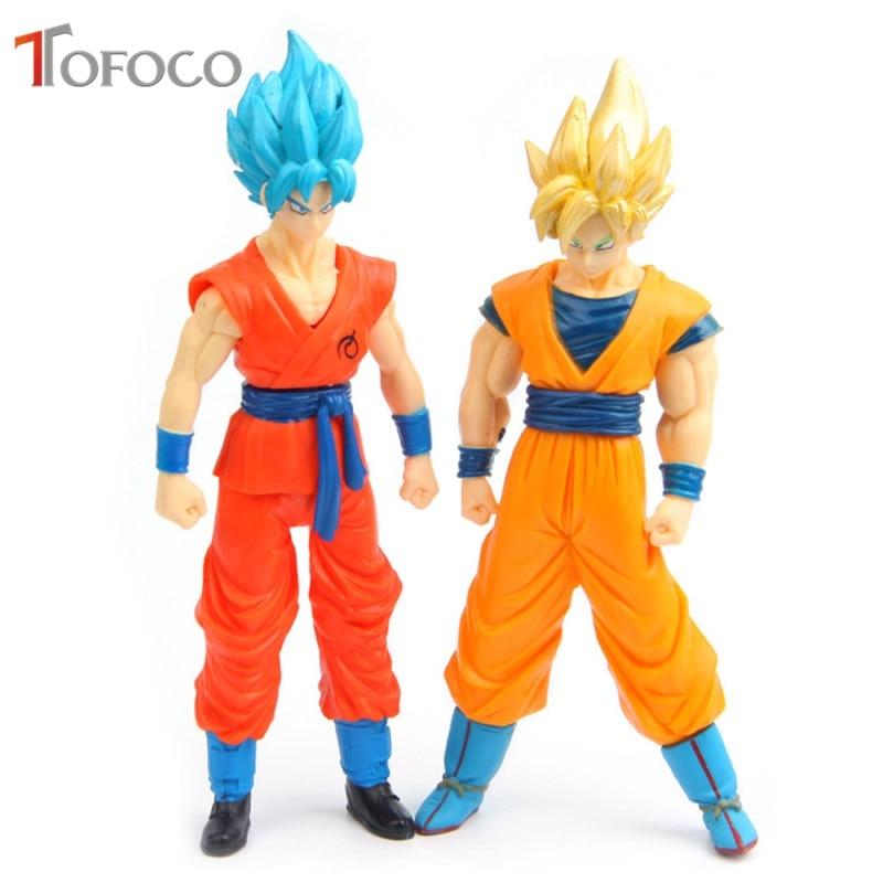 TOFOCO 2pcs/set 16cm Gold/Blue Goku Figuration Dragon Ball Z Super Action Figure Son Goku Figure Model Toy
