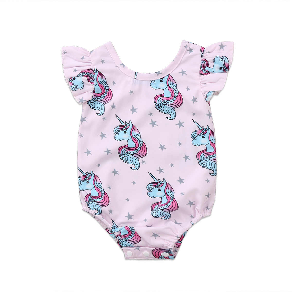 Toddler Girls Sleeveless Unicorn Romper Cotton Bodysuit Jumpsuit Clothes Outfits