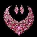 Esposa Presente de Navidad de color rosa sistemas de La Joyería Nupcial Del Pendiente Del Collar de Declaración de Las Mujeres Decoración de La Boda accesorios de La Joyería
