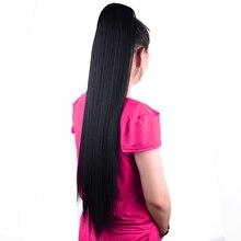 """75cm 30 """"Super largo Yaki recto Cordón de cola de caballo peluca postiza cola de Pony Clip sintético en extensiones de cabello"""