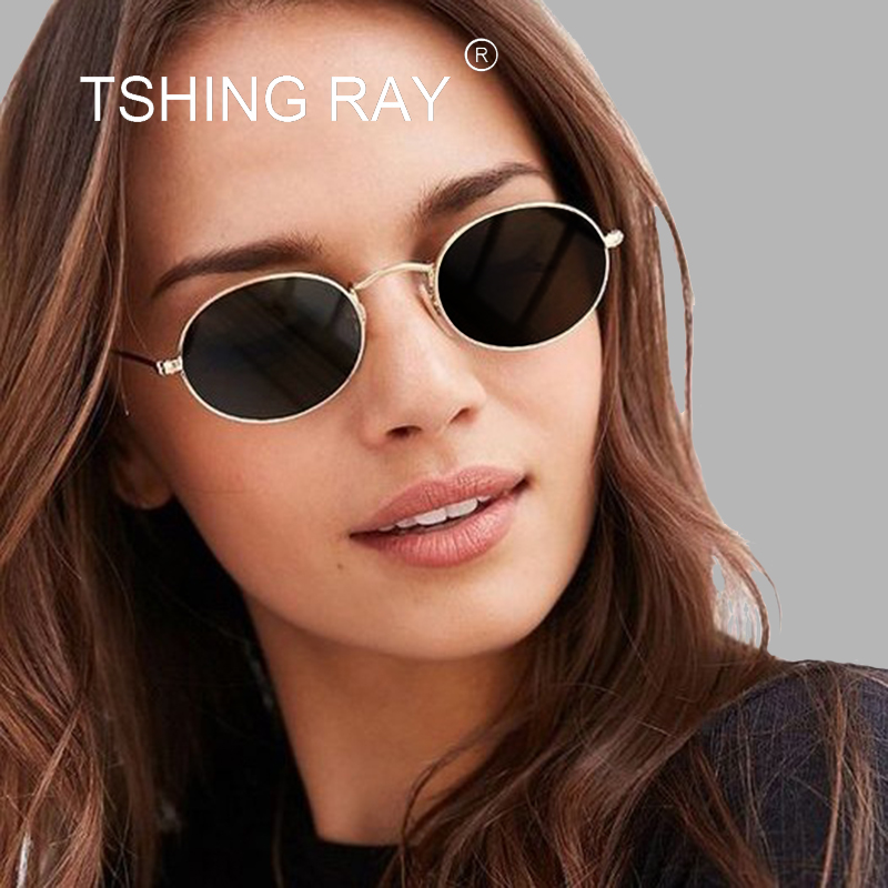3b2843088d9 TSHING RAY Ladies Classic Pink Reflective Oval Sunglasses Women Men Retro  Metal Frame Wrap Coating Mirror Sun Glasses for Female-in Sunglasses from  Apparel ...