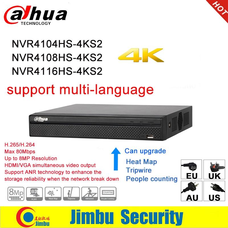 Dahua NVR Réseau Enregistreur Vidéo 4 K NVR4104HS-4KS2 NVR4108HS-4KS2 NVR4116HS-4KS2 4CH 8CH 16CH 4 K H.265/H.264 Multi- langue