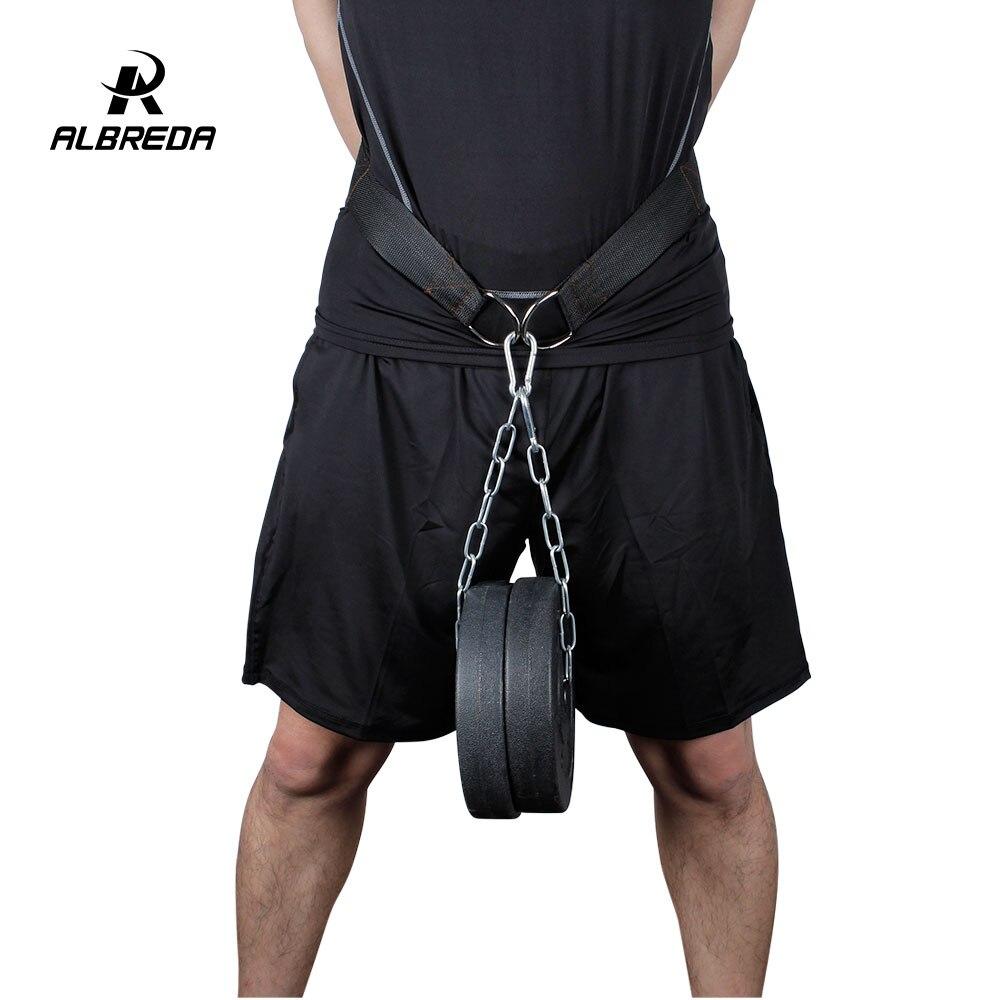 ALBREDA Gym Dumbbells Weight Lifting Belt Fitness Equipment  Drop Shipping Dip Belt Strength Pull Up Load Belt Power Exercise
