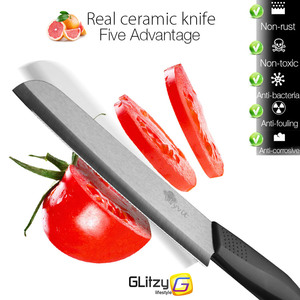 Image 3 - קרמיקה סכין 3 4 5 אינץ + 6 אינץ סכיני מטבח משונן לחם סט + קולפן Zirconia שחור להב פירות שף סכין Vege לבשל כלי