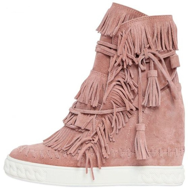 Fashion Blush Fringed Suede Casual Women Shoes Lace Up Wedge Boots Height Increasing 8cm Platforms Real Leather Shoes Woman