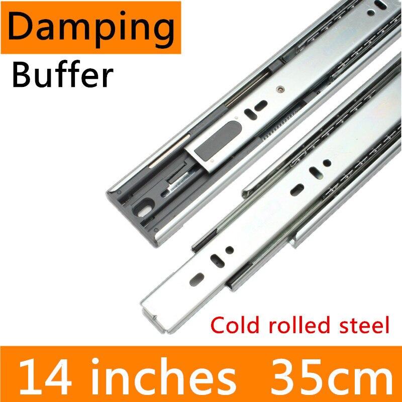 2 paires 14 pouces 35 cm laminé à froid en acier meubles glissière hydraulique tampon d'amortissement pleine Extension tiroir piste glissière Guide Rail
