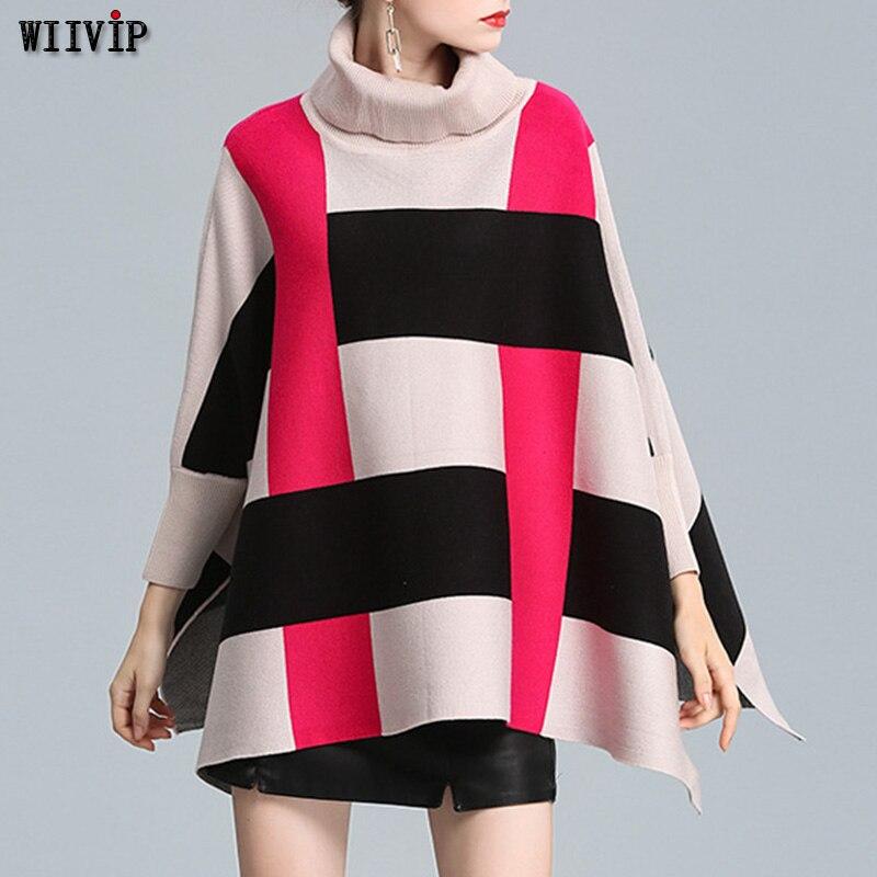 Новый свитер пальто Для женщин Зимняя мода Накидки «летучая мышь» в Корейском стиле пончо пуловер платье Трикотаж Sueter плащ 266