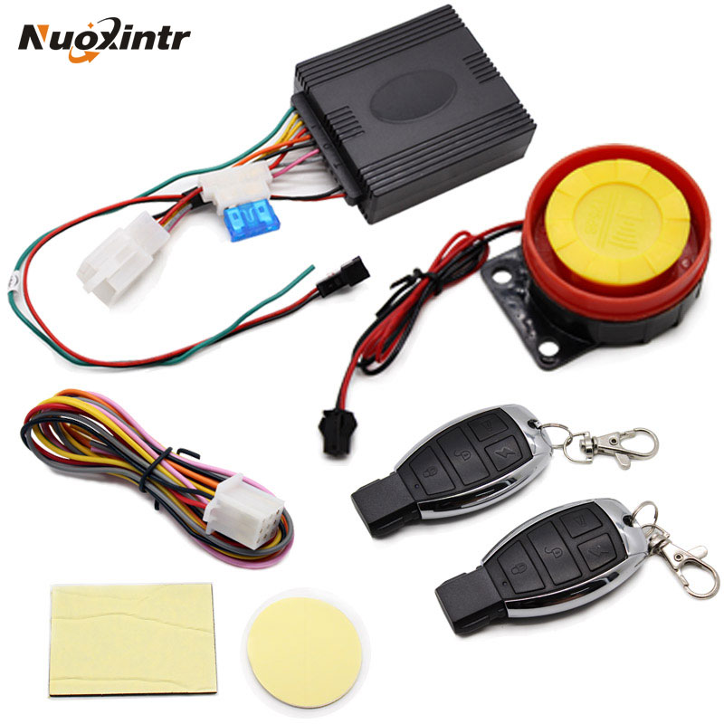 Nuoxintr 12V Motorcycle  Anti-theft Horn Motocross Security Alarm System Bike Remote Control Engine Start Keyless Entry