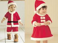 Groothandel 6 sets/partij baby boy meisje kerst kleding sets met hoed kerstman kostuum voor winter vakantie voeders festival brillendoekje