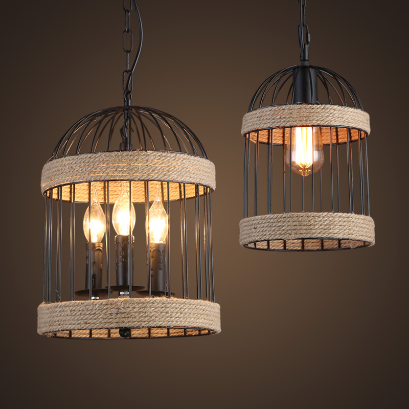 Industrial wind wrought iron cage creative hemp cage bar bar store aisle retro chandeliers loft restaurant dining room bar bedroom living room aisle cafe pendant lamp retro art wood iron cage pendant light hanging light
