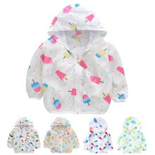 3-7Y Children Sun Protection Clothing Breathable Thin Coat Boys Girls Outerwear Clothing B