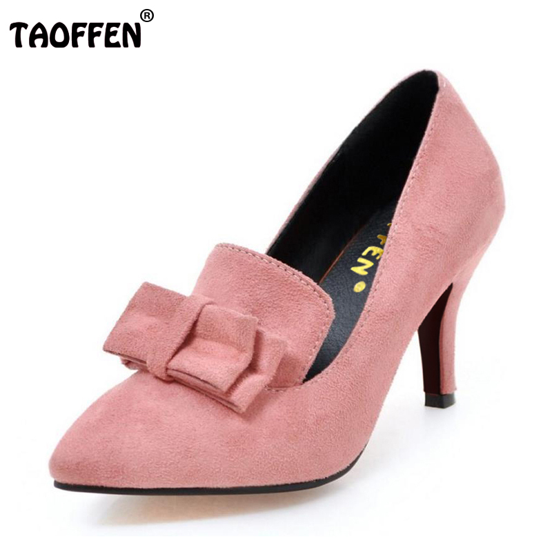 TAOFFEN New Arrival Vintage Women Pumps Elegant Fashion High Heels Slip-on Shoes Heeled Sexy Pointed Toe Ladies Shoes Size 34-43 sexy women semi transparent lace high heels new 2017 ladies sequin shoes slip on thin heel pumps free shipping