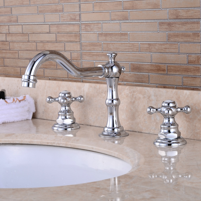 Free shipping chromed brass bathroom basin faucet Deck mounted hot and cold water 3 piece set sink mixer tap B-8205C free shipping luxury three piece bathroom faucet brass chromed basin tap wall mounted waterfall faucet lt 303