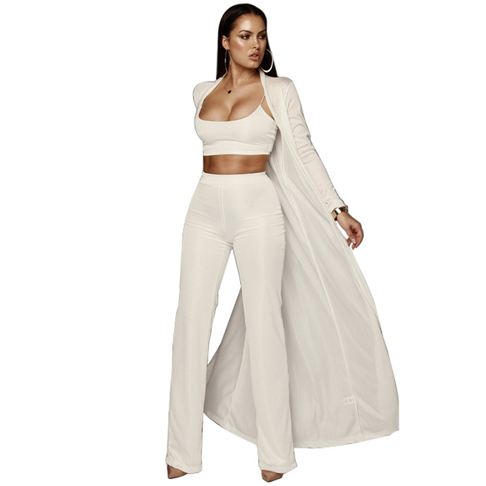Three Piece Set Ribbed Jumpsuit Women Outfits Autumn Winter Long Sleeve Casual Elegant Wide Leg Jumpsuits Rompers Party Overalls
