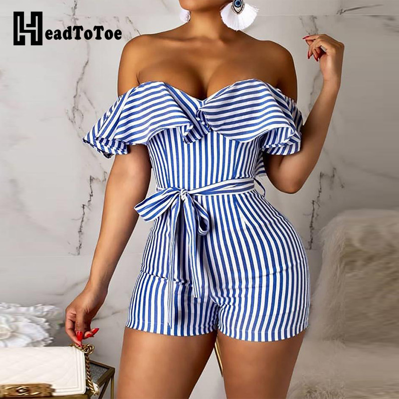 2019 Women Striped Off Shoulder Ruffles Design Romper Female Sexy Bowknot Plasuit One Piece   Jumpsuit   Overalls for Women