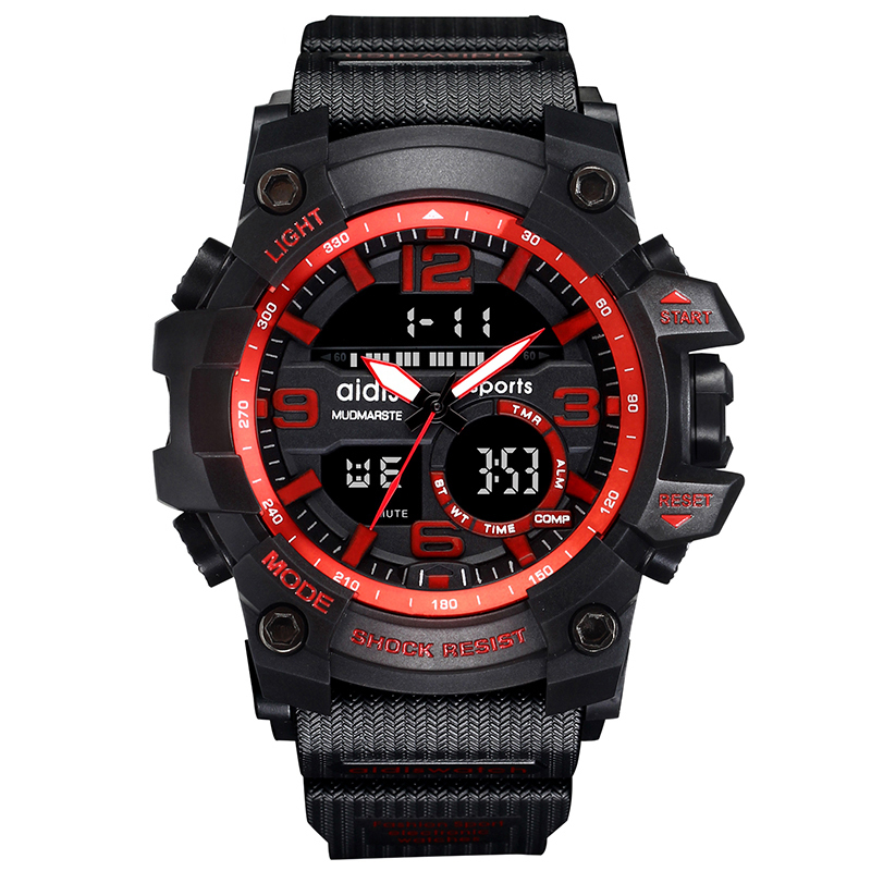 AIDIS Brand Men Sport Watch Outdoor Military Dual Display Digital LED Electronic Luminous Clock relogio masculino esportivo aidis brand dual display wristwatch sport men s waterproof digital watch stainless steel fashion quartz clock relogio masculino