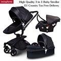 ¡Cupón! ¡Envío Gratis! Marca bebé Cochecitos 3 en 1 UE estándar coche de bebé carro 0-36 meses usar cuero de alta calidad aulon