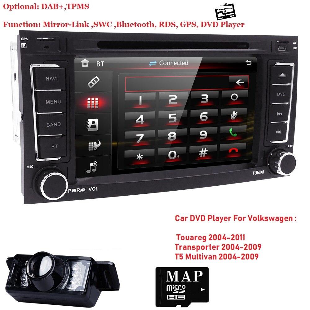 7 pouces 2 din Voiture lecteur DVD pour Volkswag VW Touareg 2004-2011 Transporteur T5 Multivan GPS Navigation audio radio 3g BT CFC IPod