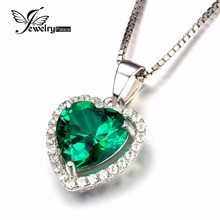 JewelryPalace Coronary heart Of Ocean 2.4ct Created Inexperienced Russian Nano Emerald Love Endlessly Halo Pendant Pure 925 Sterling Silver Jewellery