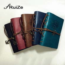 RuiZe Vintage diary journal notebook A6 leather spiral note book kraft paper sketchbook blank page 6 ring binder can be refilled