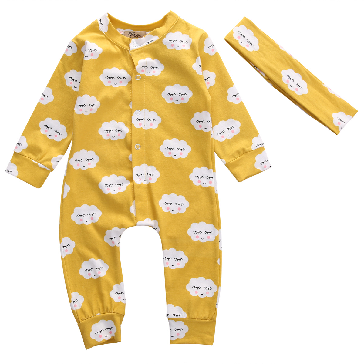 цена Pudcoco Baby Rompers Spring Autumn Newborn Long Sleeve Buttons Up Rompers Baby Clothes Smile Face Print Yellow