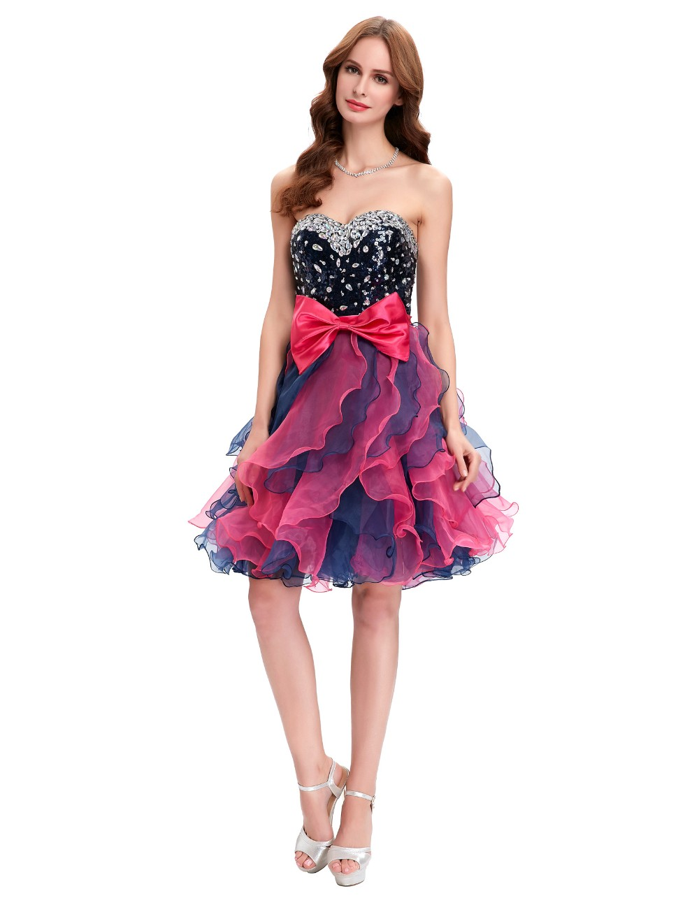 Grace Karin Short Prom Dress Ball Gown Robe De Cocktail Colorful Sequin Organza Prom Gowns Sexy Party Special Occasion Dress 10