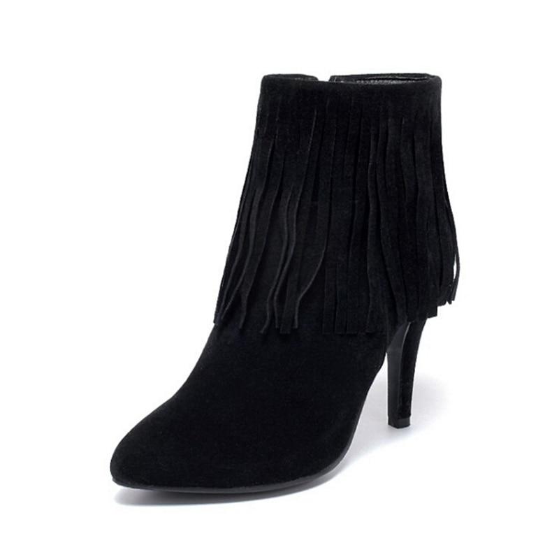 Avec À Belle gris Bottes Franges Nouvelle Zapatos Mode Noir Fine Z118 Botas Talons Courtes Mujer Hauts En Pointu De Daim Femmes rouge EHD2W9I