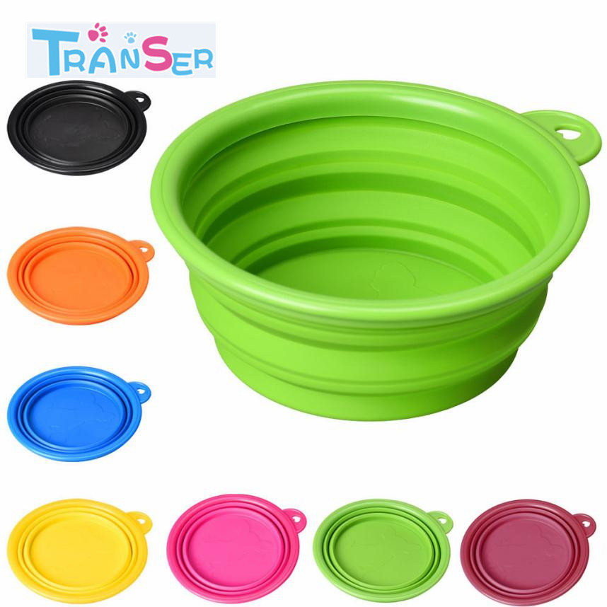 Transer 1 Pc Hot Dog Pet Portable Silicone Collapsible Travel Feeding Bowl Water Dish Feeder Candy Color Dropshipping 18feb6