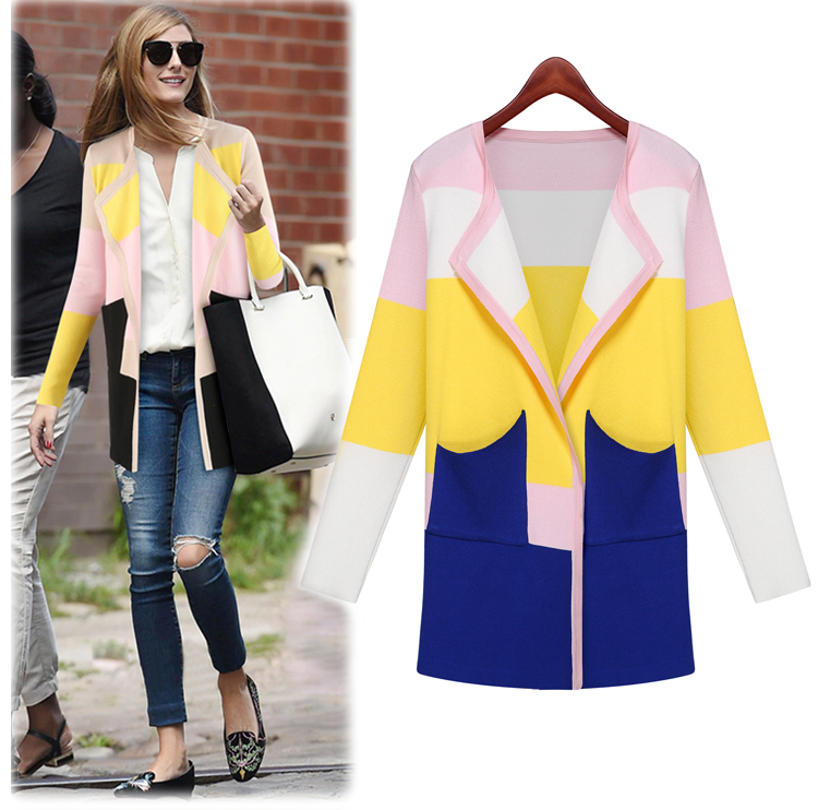 2014 New Fashion Autumn Winter Cashmere Cardigan Knitted Sweater Women Slim mixed colors cardigan Long sweater female - Angel Cube store