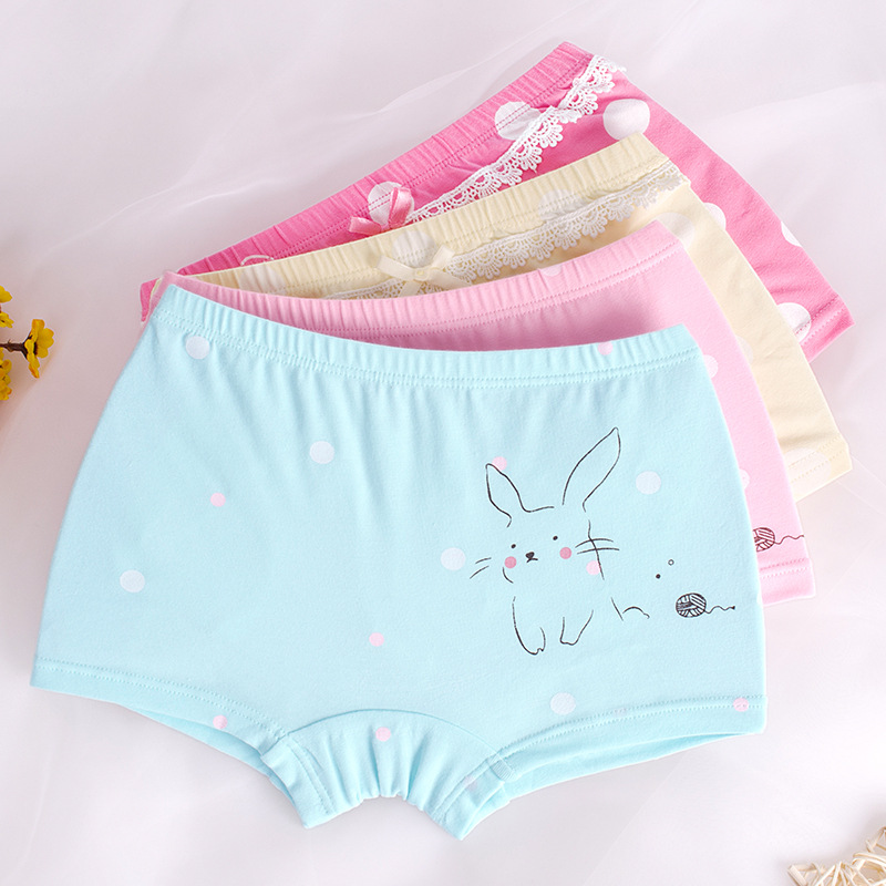 Full Cotton Girls Underwear 4Pcs Boxers Dot Girls Underpants Bottoms Girl's Clothes For 3 4 6 8 10 12 Years Old RKU173002
