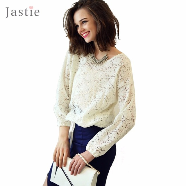 T58 Fashion European Sexy Hollow Women Transparent Embroidered Floral Lace Long Sleeve Black / white O Neck Tops Shirts