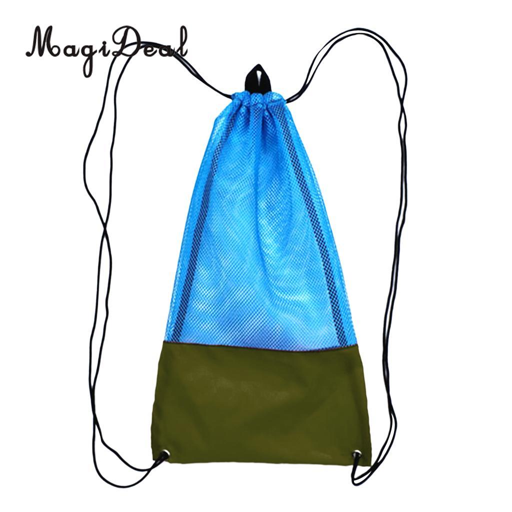 Premium Mesh Drawstring Bag /& Sling Shoulder Strap for Scuba Dive Swim Gear