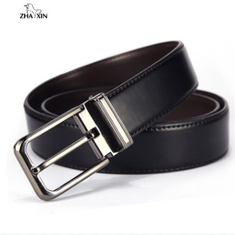 Double-sided Mens Belt Split Leather Fashion Wild Needle Buckle Belts Waist For Trousers Jeans Black Coffee Strap